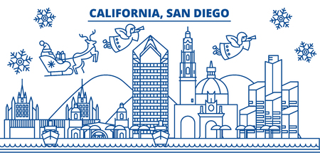 USA, California, San Diego  winter city skyline. Merry Christmas and Happy New Year decorated banner. Winter greeting card with snow and Santa Claus. Flat, line vector, linear christmas illustration