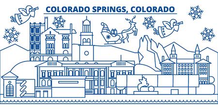 미국, 콜로라도, 콜로라도 스프링스 겨울 도시의 스카이 라인. 메리 크리스마스와 행복 한 새 해 장식 배너. 겨울 인사말 카드 눈과 산타 클로스. 플랫,