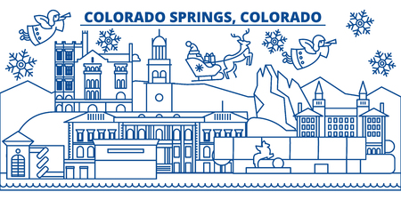 USA, Colorado, Colorado Springs  winter city skyline. Merry Christmas and Happy New Year decorated banner. Winter greeting card with snow and Santa Claus. Flat, line vector, linear christmas illustration