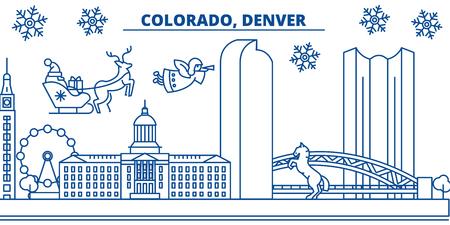 미국, 콜로라도, 덴버 겨울 도시의 스카이 라인. 메리 크리스마스와 행복 한 새 해 장식 배너. 겨울 인사말 카드 눈과 산타 클로스. 플랫, 라인 벡터, 선