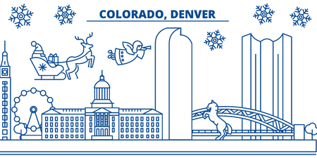 USA, Colorado, Denver  winter city skyline. Merry Christmas and Happy New Year decorated banner. Winter greeting card with snow and Santa Claus. Flat, line vector, linear christmas illustration Illustration