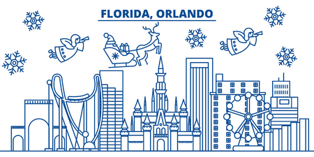 USA, Orlando winter city skyline. Merry Christmas and Happy New Year decorated banner. Winter greeting card with snow and Santa Claus. Flat, line vector, linear christmas illustration Illustration