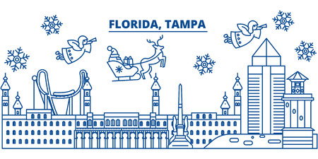 USA, Tampa winter city skyline. Merry Christmas and Happy New Year decorated banner. Winter greeting card with snow and Santa Claus. Flat, line vector, linear christmas illustration