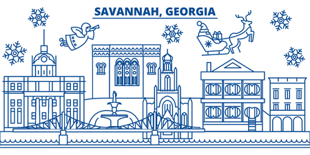 USA, Georgia, Savannah  winter city skyline. Merry Christmas and Happy New Year decorated banner. Winter greeting card with snow and Santa Claus. Flat, line vector, linear christmas illustration