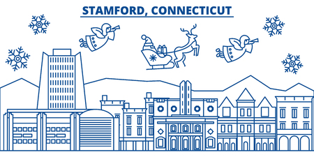 USA, Connecticut, Stamford  winter city skyline. Merry Christmas and Happy New Year decorated banner. Winter greeting card with snow and Santa Claus. Flat, line vector, linear christmas illustration