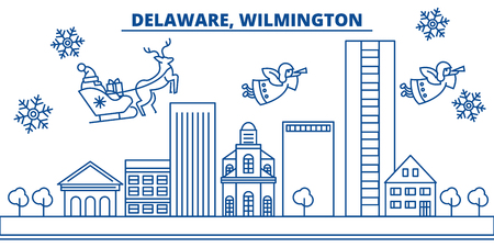 USA, Delaware , Wilmington  winter city skyline. Merry Christmas and Happy New Year decorated banner. Winter greeting card with snow and Santa Claus. Flat, line vector, linear christmas illustration