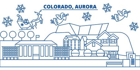 미국, 콜로라도, 오로라 겨울 도시의 스카이 라인. 메리 크리스마스와 행복 한 새 해 장식 배너. 겨울 인사말 카드 눈과 산타 클로스. 플랫, 라인 벡터,