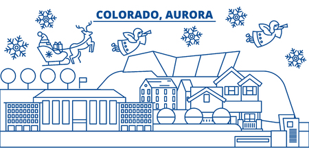 USA, Colorado, Aurora  winter city skyline. Merry Christmas and Happy New Year decorated banner. Winter greeting card with snow and Santa Claus. Flat, line vector, linear christmas illustration Иллюстрация