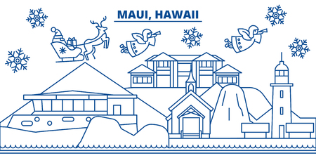 USA, Hawaii, Maui  winter city skyline. Merry Christmas and Happy New Year decorated banner. Winter greeting card with snow and Santa Claus. Flat, line vector, linear christmas illustration