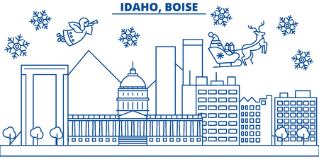 USA, Idaho , Boise  winter city skyline. Merry Christmas and Happy New Year decorated banner. Winter greeting card with snow and Santa Claus. Flat, line vector, linear christmas illustration