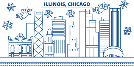 USA, Illinois , Chicago  winter city skyline. Merry Christmas and Happy New Year decorated banner. Winter greeting card with snow and Santa Claus. Flat, line vector, linear christmas illustration
