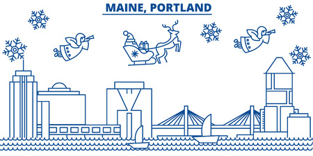 USA, Maine , Portland  winter city skyline. Merry Christmas and Happy New Year decorated banner. Winter greeting card with snow and Santa Claus. Flat, line vector, linear christmas illustration