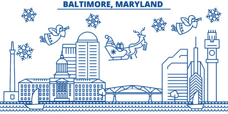 USA, Maryland , Baltimore  winter city skyline. Merry Christmas and Happy New Year decorated banner. Winter greeting card with snow and Santa Claus. Flat, line vector, linear christmas illustration