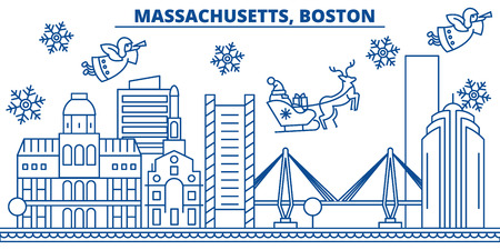 USA, Massachusetts , Boston  winter city skyline. Merry Christmas and Happy New Year decorated banner. Winter greeting card with snow and Santa Claus. Flat, line vector, linear christmas illustration