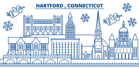 USA, Connecticut, Hartford  winter city skyline. Merry Christmas and Happy New Year decorated banner. Winter greeting card with snow and Santa Claus. Flat, line vector, linear christmas illustration