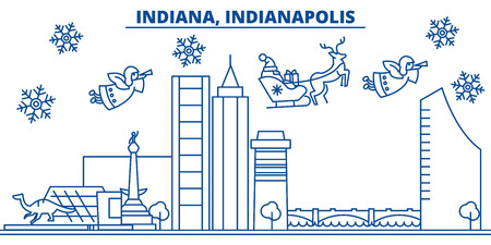 USA, Indiana , Indianapolis  winter city skyline. Merry Christmas and Happy New Year decorated banner. Winter greeting card with snow and Santa Claus. Flat, line vector, linear christmas illustration Stock Vector - 91339191