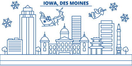 USA, Iowa , Des Moines  winter city skyline. Merry Christmas and Happy New Year decorated banner. Winter greeting card with snow and Santa Claus. Flat, line vector, linear christmas illustration