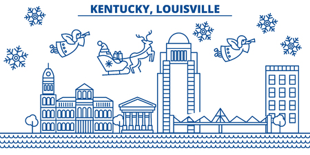 USA, Kentucky , Louisville  winter city skyline. Merry Christmas and Happy New Year decorated banner. Winter greeting card with snow and Santa Claus. Flat, line vector, linear christmas illustration