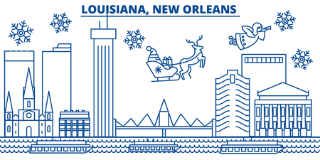 USA, Louisiana , New Orleans  winter city skyline. Merry Christmas and Happy New Year decorated banner. Winter greeting card with snow and Santa Claus. Flat, line vector, linear christmas illustration Illustration