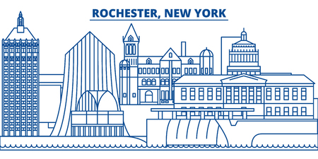 USA, New York, Rochester  winter city skyline. Merry Christmas and Happy New Year decorated banner. Winter greeting card with snow and Santa Claus. Flat, line vector, linear christmas illustration