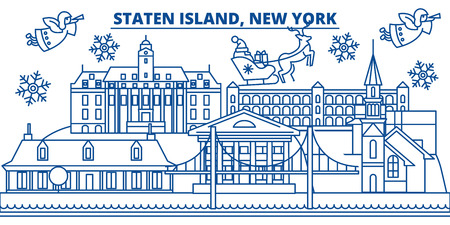 USA, New York, Staten Island  winter city skyline. Merry Christmas and Happy New Year decorated banner. Winter greeting card with snow and Santa Claus. Flat, line vector, linear christmas illustration Ilustracja