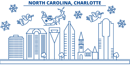 USA, North Carolina , Charlotte  winter city skyline. Merry Christmas and Happy New Year decorated banner. Winter greeting card with snow and Santa Claus. Flat, line vector, linear christmas illustration Illustration