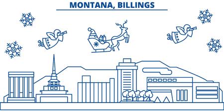 미국, 몬태나, 빌링스 겨울 도시의 스카이 라인. 메리 크리스마스와 행복 한 새 해 장식 배너. 겨울 인사말 카드 눈과 산타 클로스. 플랫, 라인 벡터, 선 일러스트