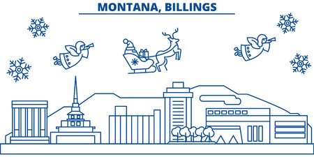 USA, Montana , Billings  winter city skyline. Merry Christmas and Happy New Year decorated banner. Winter greeting card with snow and Santa Claus. Flat, line vector, linear christmas illustration Иллюстрация