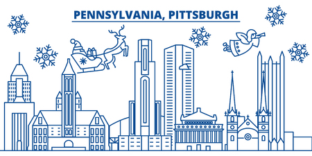 USA, Pennsylvania , Pittsburgh  winter city skyline. Merry Christmas and Happy New Year decorated banner. Winter greeting card with snow and Santa Claus. Flat, line vector, linear christmas illustration