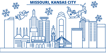 USA, Missouri , Kansas City  winter city skyline. Merry Christmas and Happy New Year decorated banner. Winter greeting card with snow and Santa Claus. Flat, line vector, linear christmas illustration Illustration