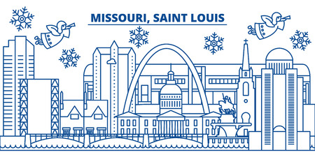 USA, Missouri, Saint Louis  winter city skyline. Merry Christmas and Happy New Year decorated banner. Winter greeting card with snow and Santa Claus. Flat, line vector, linear christmas illustration Illustration