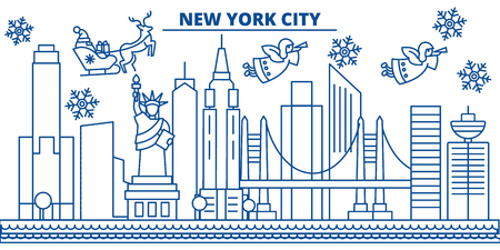 USA, New York , New York City  winter city skyline. Merry Christmas and Happy New Year decorated banner. Winter greeting card with snow and Santa Claus. Flat, line vector, linear christmas illustration