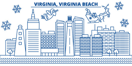 USA, Virginia , Virginia Beach  winter city skyline. Merry Christmas and Happy New Year decorated banner. Winter greeting card with snow and Santa Claus. Flat, line vector, linear christmas illustration Illustration