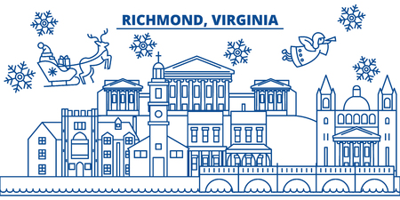 USA, Virginia, Richmond  winter city skyline. Merry Christmas and Happy New Year decorated banner. Winter greeting card with snow and Santa Claus. Flat, line vector, linear christmas illustration Ilustrace
