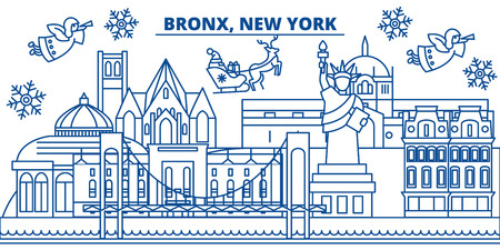 USA, New York, Bronx  winter city skyline. Merry Christmas and Happy New Year decorated banner. Winter greeting card with snow and Santa Claus. Flat, line vector, linear christmas illustration
