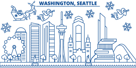 USA, Washington , Seattle  winter city skyline. Merry Christmas and Happy New Year decorated banner. Winter greeting card with snow and Santa Claus. Flat, line vector, linear christmas illustration