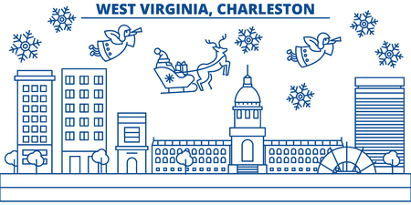 USA, West Virginia , Charleston  winter city skyline. Merry Christmas and Happy New Year decorated banner. Winter greeting card with snow and Santa Claus. Flat, line vector, linear christmas illustration