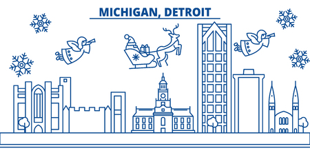 USA, Michigan , Detroit  winter city skyline. Merry Christmas and Happy New Year decorated banner. Winter greeting card with snow and Santa Claus. Flat, line vector, linear christmas illustration Illustration
