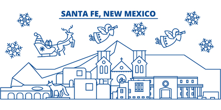 USA, New Mexico, Santa Fe  winter city skyline. Merry Christmas and Happy New Year decorated banner. Winter greeting card with snow and Santa Claus. Flat, line vector, linear christmas illustration