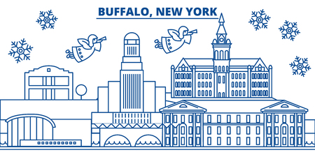 USA, New York, Buffalo  winter city skyline. Merry Christmas and Happy New Year decorated banner. Winter greeting card with snow and Santa Claus. Flat, line vector, linear christmas illustration
