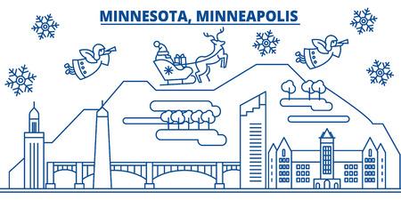 Minnesota, Minneapolis city skyline icon. Illustration