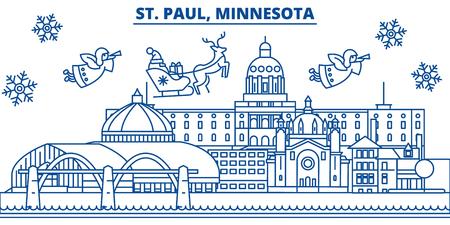 アメリカ合衆国、ミネソタ州セントポール冬街のスカイライン。メリー クリスマスと新年あけましておめでとうございます、バナーを装飾されてい