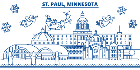 USA, Minnesota, St. Paul  winter city skyline. Merry Christmas and Happy New Year decorated banner. Winter greeting card with snow and Santa Claus. Flat, line vector, linear christmas illustration Ilustração
