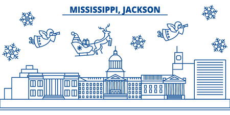 USA, Mississippi , Jackson  winter city skyline. Merry Christmas and Happy New Year decorated banner. Winter greeting card with snow and Santa Claus. Flat, line vector, linear christmas illustration