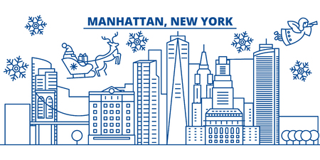 USA, New York, Manhattan  winter city skyline. Merry Christmas and Happy New Year decorated banner. Winter greeting card with snow and Santa Claus. Flat, line vector, linear christmas illustration
