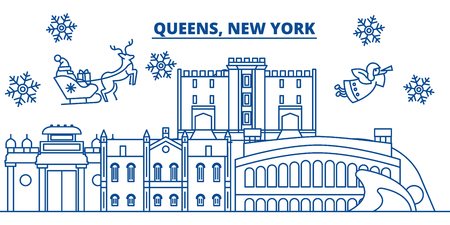 USA, New York, Queens  winter city skyline. Merry Christmas and Happy New Year decorated banner. Winter greeting card with snow and Santa Claus. Flat, line vector, linear christmas illustration