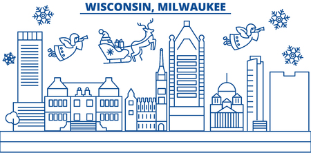 USA, Wisconsin , Milwaukee City  winter city skyline. Merry Christmas and Happy New Year decorated banner. Winter greeting card with snow and Santa Claus. Flat, line vector, linear christmas illustration Illustration