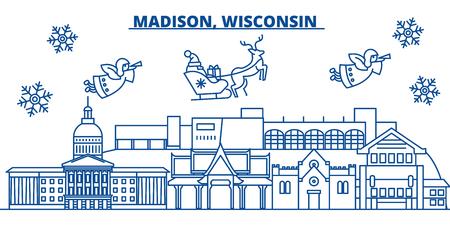 미국, 위스콘신, 매디슨 겨울 도시의 스카이 라인. 메리 크리스마스와 행복 한 새 해 장식 배너. 겨울 인사말 카드 눈과 산타 클로스. 플랫, 라인 벡터,