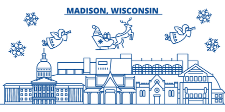 USA, Wisconsin, Madison  winter city skyline. Merry Christmas and Happy New Year decorated banner. Winter greeting card with snow and Santa Claus. Flat, line vector, linear christmas illustration