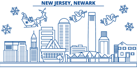 USA, New Jersey , Newark  winter city skyline. Merry Christmas and Happy New Year decorated banner. Winter greeting card with snow and Santa Claus. Flat, line vector, linear christmas illustration